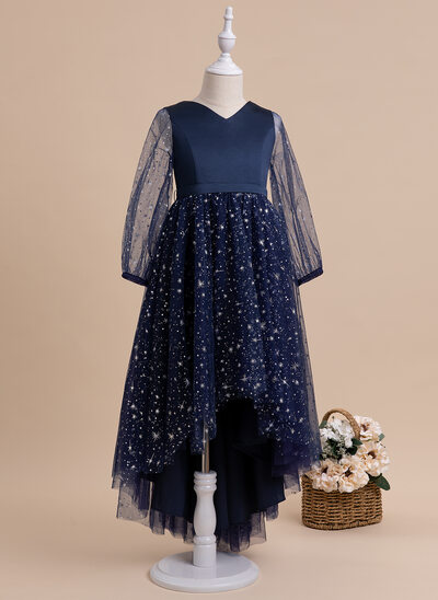 A-Line Asymmetrical Flower Girl Dress - Long Sleeves V-neck