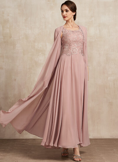 A-Line Scoop Neck Ankle-Length Chiffon Lace Mother of the Bride Dress