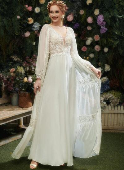 A-Line V-neck Floor-Length Wedding Dress With Lace Sequins Split Front