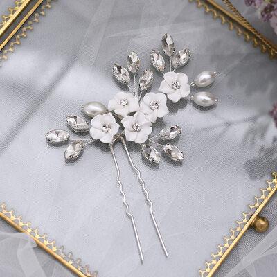 Ladies/Kids Beautiful Rhinestone/Imitation Pearls/Polymer Clay Hairpins With Rhinestone/Venetian Pearl (Sold in single piece)