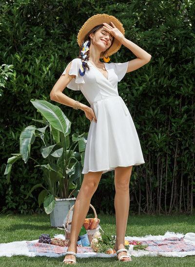 A-Line V-neck Short/Mini Wedding Dress With Ruffle