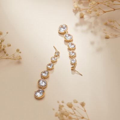 Ladies' Fashionable Alloy/Rhinestones With Round Rhinestone Nrop Earrings Earrings