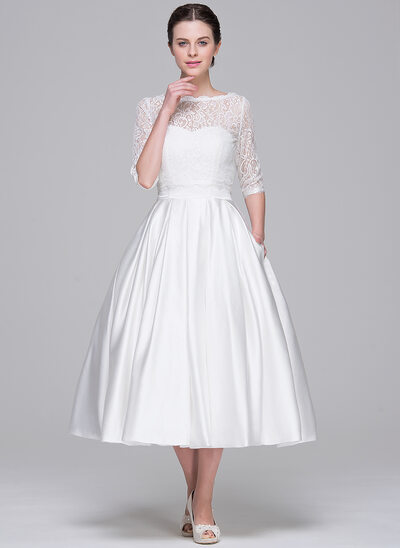 Ball-Gown Sweetheart Tea-Length Satin Wedding Dress With Pockets