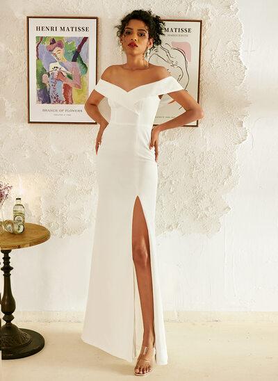 Off-the-Shoulder Floor-Length Wedding Dress