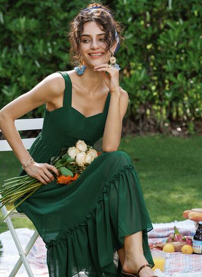 A-Line Sweetheart Tea-Length Prom Dresses