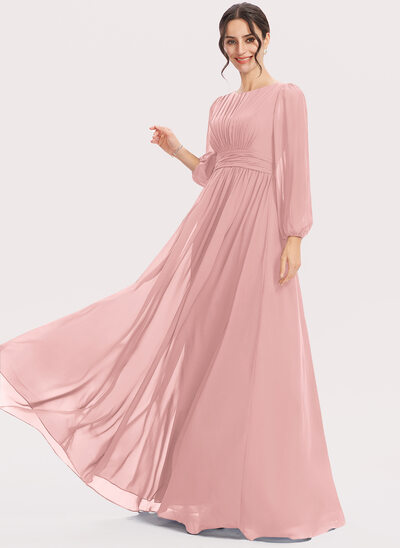 A-Line Floor-Length Bridesmaid Dress With Ruffle