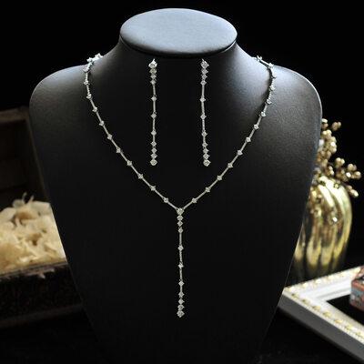 Ladies' Elegant Alloy/Zircon/Silver Plated Cubic Zirconia Bridal Sets Jewelry Sets