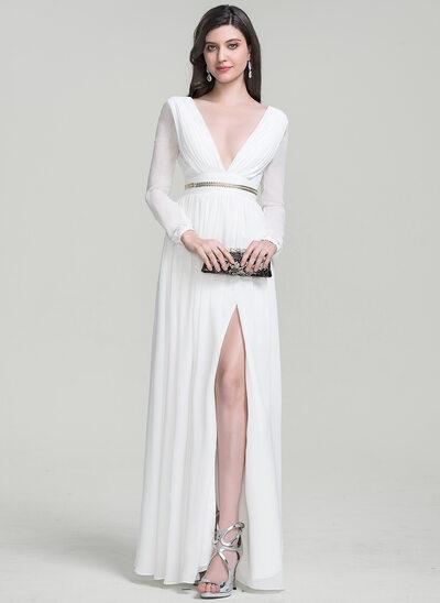 A-Line V-neck Floor-Length Chiffon Wedding Dress With Beading Split Front