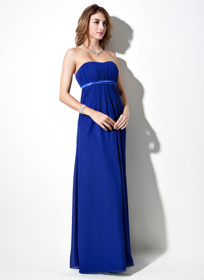 Empire Sweetheart Floor-Length Chiffon Maternity Bridesmaid Dress With Sash