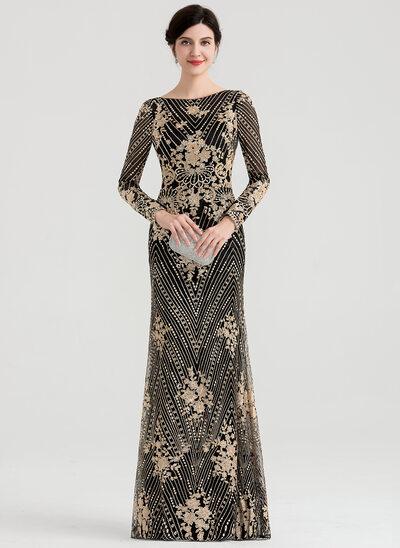 Sheath/Column Scoop Neck Floor-Length Sequined Evening Dress