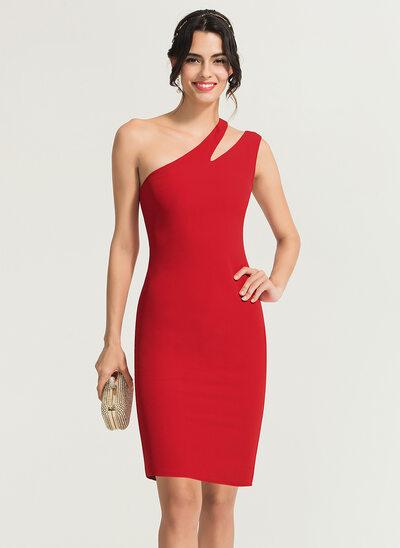 Sheath/Column One-Shoulder Knee-Length Stretch Crepe Cocktail Dress