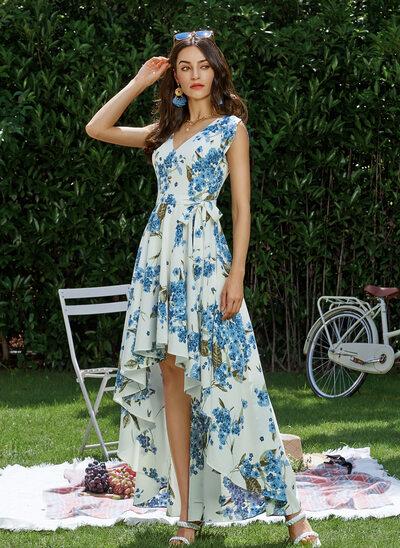 A-Line V-neck Asymmetrical Prom Dresses With Ruffle