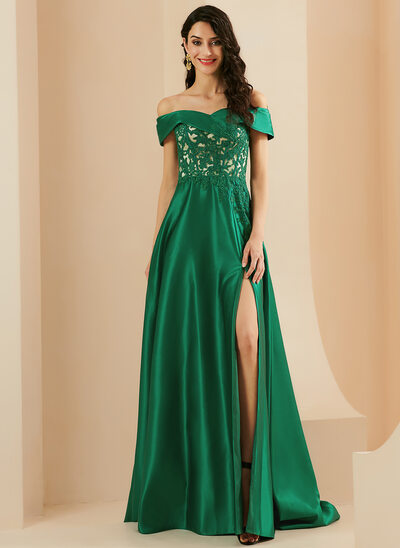 A-Line Off-the-Shoulder Sweep Train Satin Prom Dresses With Split Front