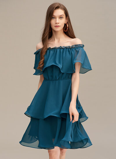 A-Line Off-the-Shoulder Short/Mini Homecoming Dress