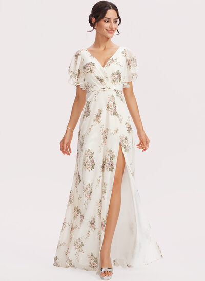 A-Line V-neck Floor-Length Bridesmaid Dress With Flower(s) Split Front