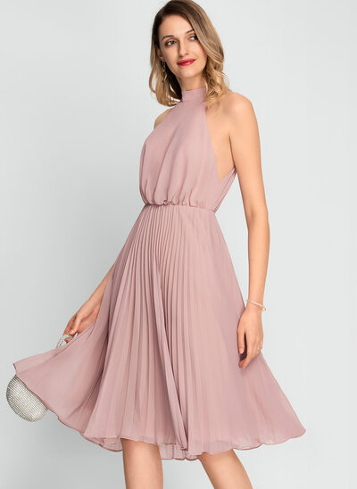 A-Line High Neck Knee-Length Chiffon Wedding Dress With Pleated
