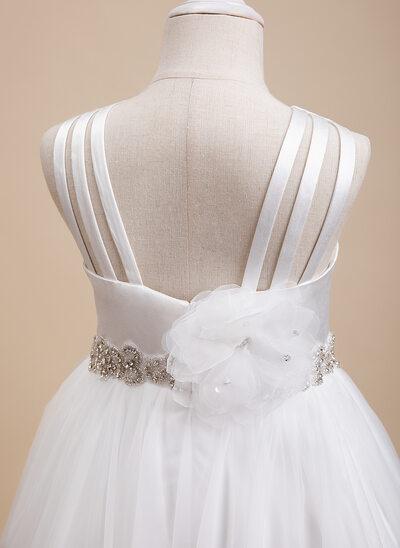 Ball-Gown/Princess Floor-length Flower Girl Dress - Sleeveless Scalloped Neck With Beading/Flower(s)