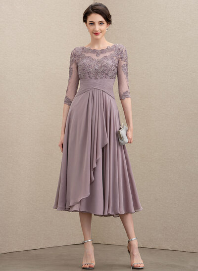 A-Line Scoop Neck Tea-Length Chiffon Lace Mother of the Bride Dress With Cascading Ruffles