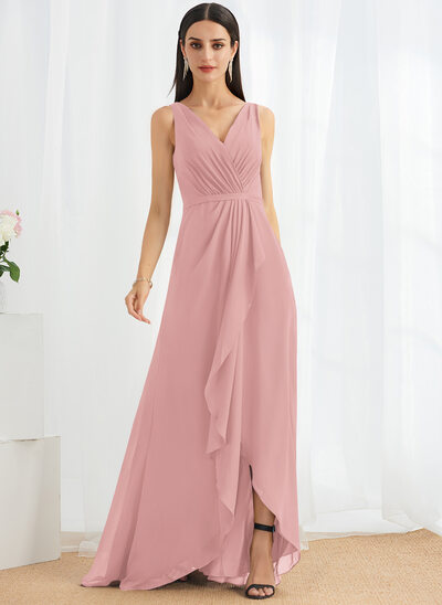 A-Line V-neck Asymmetrical Bridesmaid Dress With Split Front