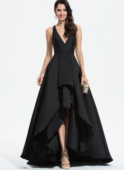 A-Line V-neck Asymmetrical Satin Prom Dresses With Cascading Ruffles