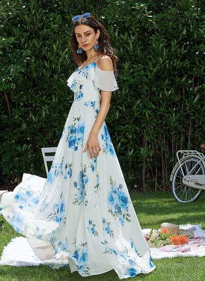 V-neck Floor-Length Prom Dresses
