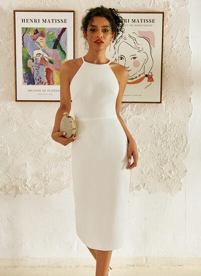 Halter Knee-Length Wedding Dress