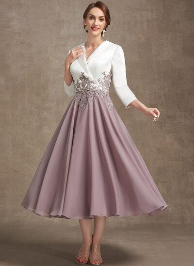 A-Line V-neck Tea-Length Chiffon Lace Evening Dress