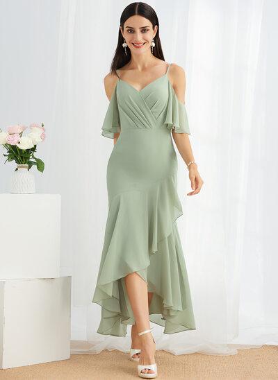 Trumpet/Mermaid V-neck Asymmetrical Bridesmaid Dress With Ruffle