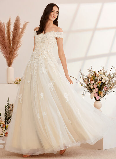 [Free Shipping]Ball-Gown/Princess Off-the-Shoulder Floor-Length Wedding Dress With Beading Sequins