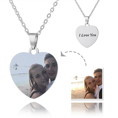 [Free Shipping]Custom Silver Heart Engraving/Engraved Color Printing Photo Necklace - Mother's Day Gifts (288234220)