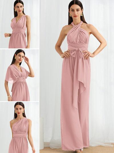 Jumpsuit/Pantsuit One-Shoulder Halter V-neck High Neck Floor-Length Bridesmaid Dress With Ruffle