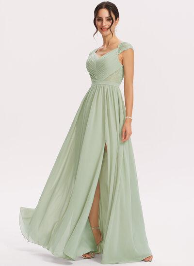 A-Line V-neck Floor-Length Bridesmaid Dress With Lace Split Front
