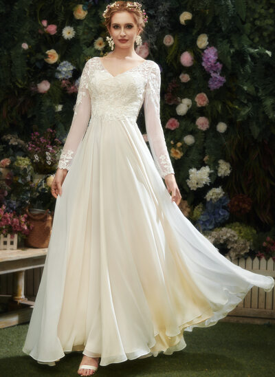 A-Line V-neck Floor-Length Wedding Dress With Lace Sequins
