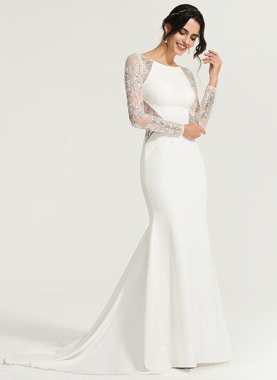 Trumpet/Mermaid Scoop Neck Sweep Train Stretch Crepe Wedding Dress With Sequins