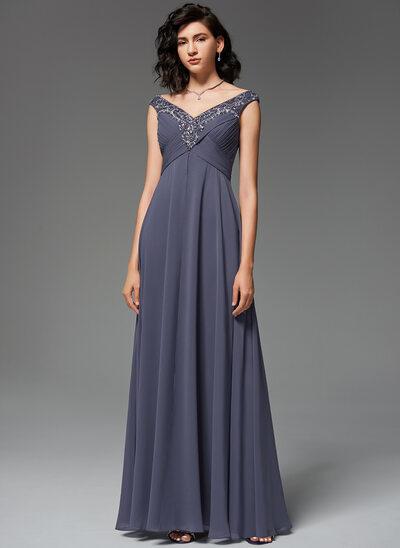 A-Line V-neck Floor-Length Chiffon Evening Dress With Ruffle Beading Sequins
