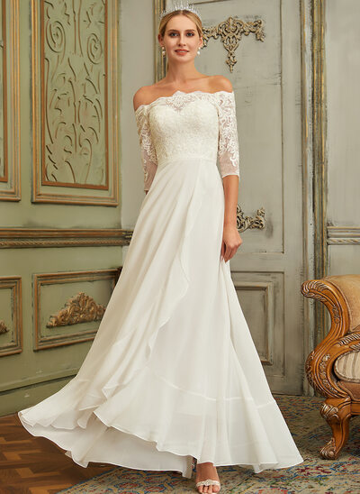 A-Line Off-the-Shoulder Asymmetrical Chiffon Lace Wedding Dress With Lace Sequins