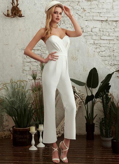 A-Line Sweetheart Tea-Length Wedding Dress