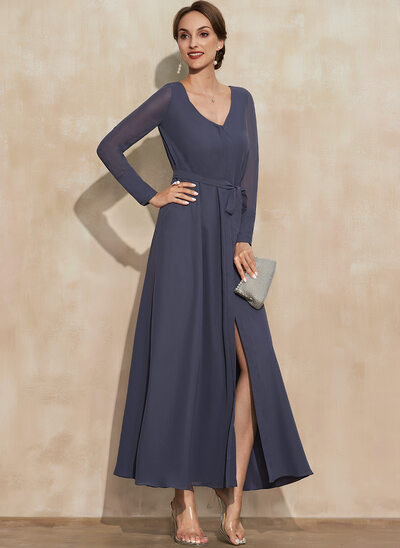 A-Line V-neck Ankle-Length Chiffon Mother of the Bride Dress With Bow(s) Split Front