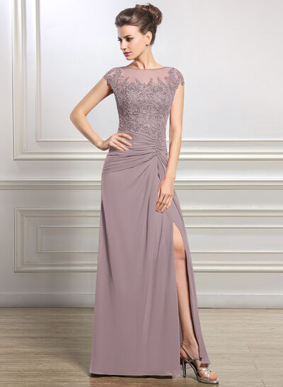 Sheath/Column Scoop Neck Floor-Length Chiffon Mother of the Bride Dress With Ruffle Beading Appliques Lace Sequins Split Front
