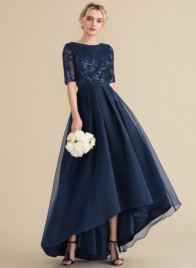 A-Line Scoop Neck Asymmetrical Organza Sequined Evening Dress