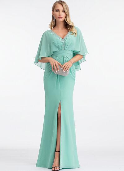 Sheath/Column V-neck Floor-Length Chiffon Evening Dress With Beading Split Front