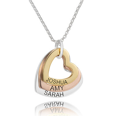Custom Sterling Silver Heart Engraving/Engraved Three Heart Necklace Family Necklace With Kids Names - Birthday Gifts Mother's Day Gifts