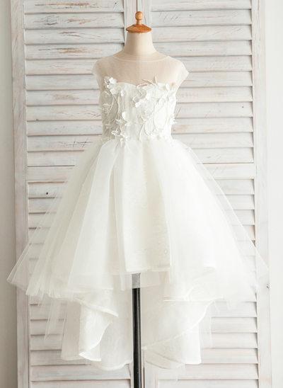 A-Line Asymmetrical Flower Girl Dress - Satin/Tulle/Cotton Sleeveless Bateau