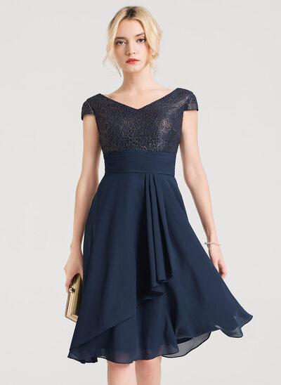 A-Line/Princess V-neck Knee-Length Chiffon Cocktail Dress With Cascading Ruffles