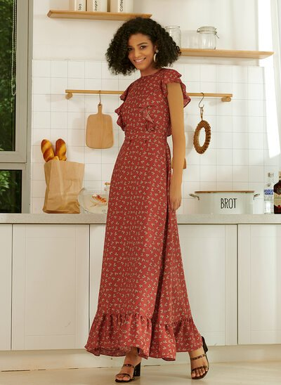 A-Line Ankle-Length Evening Dress With Ruffle