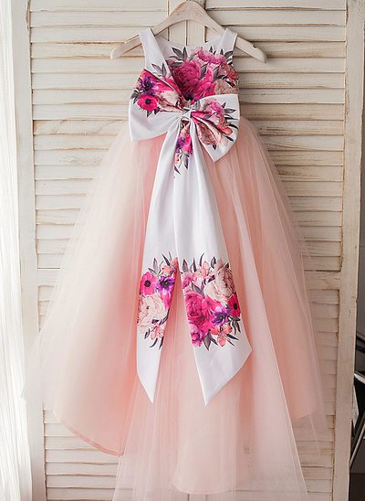 A-Line Asymmetrical Flower Girl Dress - Satin/Tulle Sleeveless Scoop Neck With Flower(s)/Bow(s)