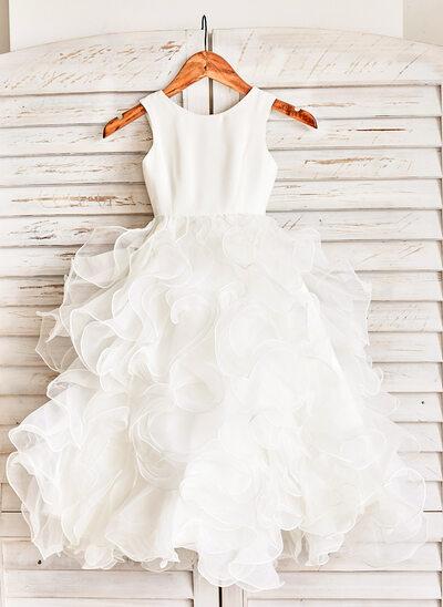 Ball Gown Floor-length Flower Girl Dress - Organza Sleeveless Scoop Neck With Ruffles