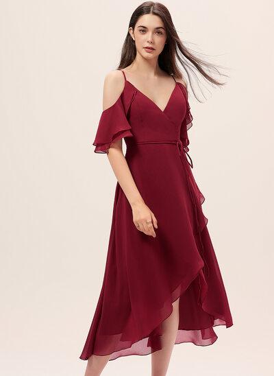 A-Line V-neck Asymmetrical Chiffon Cocktail Dress With Cascading Ruffles