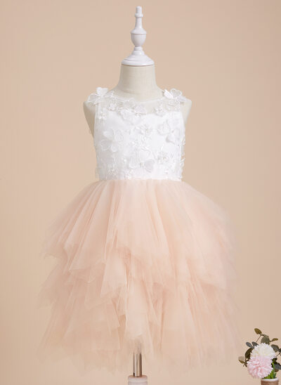 Ball-Gown/Princess Knee-length Flower Girl Dress - Tulle/Lace Sleeveless Scoop Neck With Beading/Flower(s)