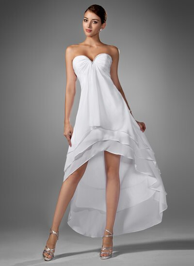 A-Line Sweetheart Asymmetrical Chiffon Wedding Dress With Ruffle Beading